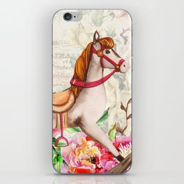 Vintage Collage and Rocking Horse iPhone Skin