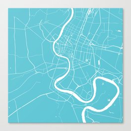 Bangkok Thailand Minimal Street Map - Turquoise and White Canvas Print