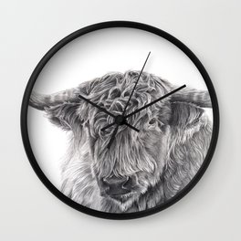Hippie the Longhorn - Pencil Drawing Wall Clock