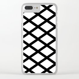 rhombus and tartan 2– black and white Clear iPhone Case