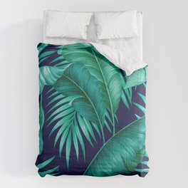 HAWAIIAN GARDEN TROPICAL LEAVES | turquoise navy Comforters