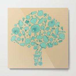 Fungi V2 Vintage Mushroom Pattern Metal Print