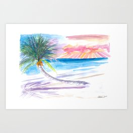 Leaning Palm For Relaxing On Tortola British Virgin Islands Art Print