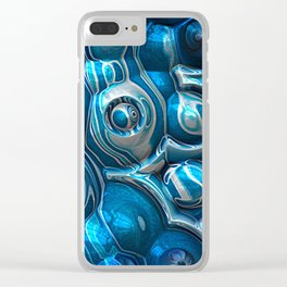 Macro 3D Blue Reflections Clear iPhone Case