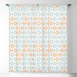 Retro Mid century Modern Beaded Curtain Geometric Stripes Orange Blue Gray Blackout Curtain