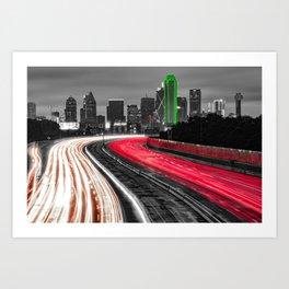 Dallas Skyline Over Light Trails - Selective Color Edition Art Print