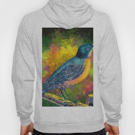 Watercolor Bird on the Fence Eating a Berry (Color) Hoody