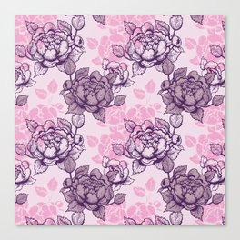 Peony pattern in pink and violet Canvas Print