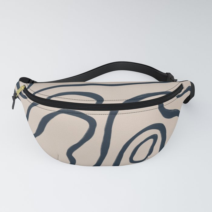 Topographic Map / Nude & Dark Blue Fanny Pack