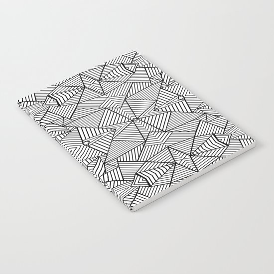 Abstract Mirror Black on White Notebook