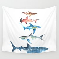 sharks Wall Tapestries featuring Sharks by Amee Cherie Piek