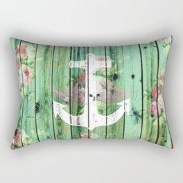 Vintage Floral Nautical Anchor Green Beach Wood Rectangular Pillow