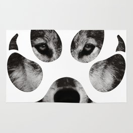 Wolf's Paw Black and White Rug