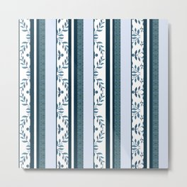zakiaz navy & white french stripe Metal Print