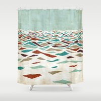 ryan gosling Shower Curtains featuring Sea Recollection by Efi Tolia