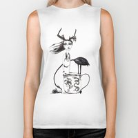 alice in wonderland Biker Tanks featuring Wonderland by lesinfin