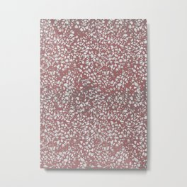 Blush Peach Pink Red and White Terrazzo Texture Pattern Metal Print