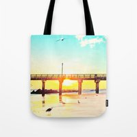 boardwalk empire Tote Bags featuring Boardwalk by Mina Teslaru