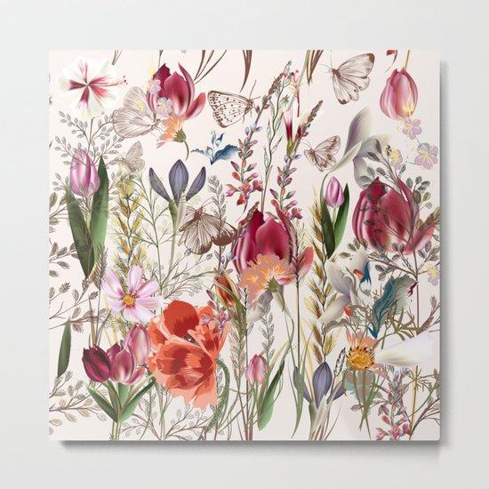 Bright spring field. Romantic pattern Metal Print