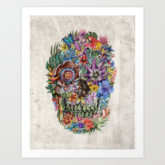 tropilcal floral skull 5 Art Print