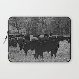 Black & White Cattle Grazing Pencil Drawing Photo Laptop Sleeve