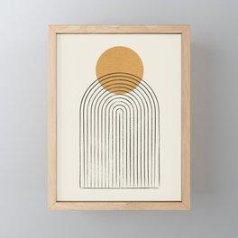 Gold Sun rainbow mountain Framed Mini Art Print