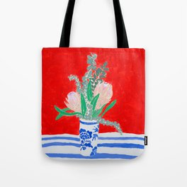 Protea Still Life in Red and Delft Blue Tote Bag