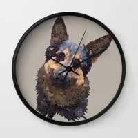german shepherd Wall Clocks featuring German Shepherd by ArtLovePassion