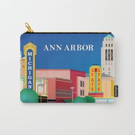 Ann Arbor, Michigan - Skyline Illustration by Loose Petals Carry-All Pouch