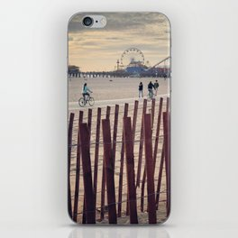 People cycling on Santa Monica beach, California, USA iPhone Skin