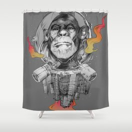 Space Monkey Shower Curtain
