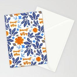 Blue and Orange Floral Feminist Killjoy Print Stationery Cards