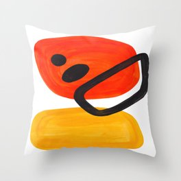 Midcentury Modern Colorful Abstract Pop Art Space Age Fun Bright Orange Yellow Colors Minimalist Throw Pillow