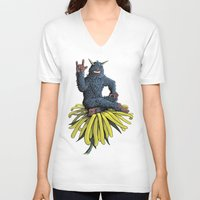 peanuts V-neck T-shirts featuring Monster on Oblique Dandelion by David Comito