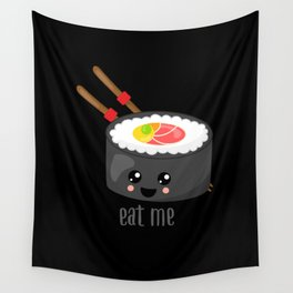 Eat Me in black Wall Tapestry