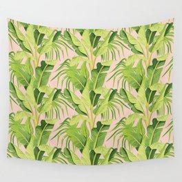 banana tree pink pattern Wall Tapestry