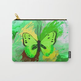 Neon Green Butterfly Carry-All Pouch