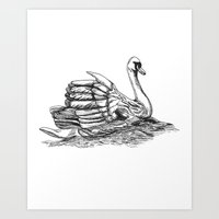 black swan Art Prints featuring Swan  by Amor et Squalore