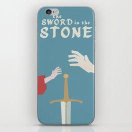 The sword in the stone, minimalist movie poster, animated film, King Arthur, Merlin, retro playbill iPhone Skin