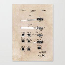 patent art Wolcott Toothbrush 1938 Canvas Print
