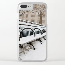 Snowing in Central Park Clear iPhone Case