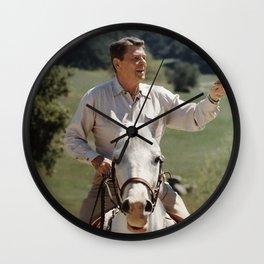 Ronald Reagan On Horseback Wall Clock