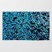 pixel art Area & Throw Rugs featuring Turquoise Blue Aqua Black Pixels by 2sweet4words Designs