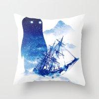 ship Throw Pillows featuring Abandon Ship by Niel Quisaba