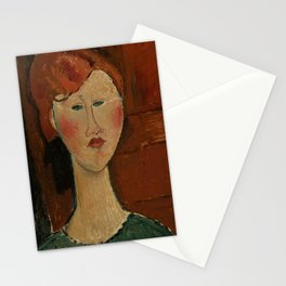 """Amedeo Modigliani """"Femme aux cheveux rouge (Woman with Red Hair)"""" Stationery Cards"""