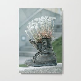 Hiking Boot With Flowers Art Print | Travel Photography | Mountain Hiking Lovers Metal Print