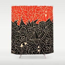 - fall : a red storm and the sea - Shower Curtain