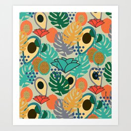 Monstera, fruits and flowers Art Print
