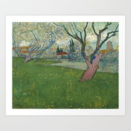 Orchards in blossom by Vincent van Gogh, 1889 Art Print