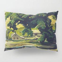 Farm Haliburton oil on hardboard 1940 Franklin Carmichael Canadian artist Art Nouveau Post-Impressio Pillow Sham